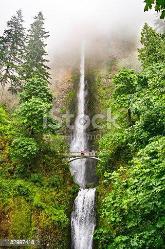 Multnomah Falls in the Fog (outside Portland) -  Columbia River Gorge National Scenic Area, Oregon