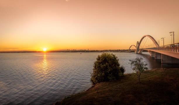 JK Bridge and Paranoa Lake at Sunset - Brasilia, Distrito Federal, Brazil stock photo
