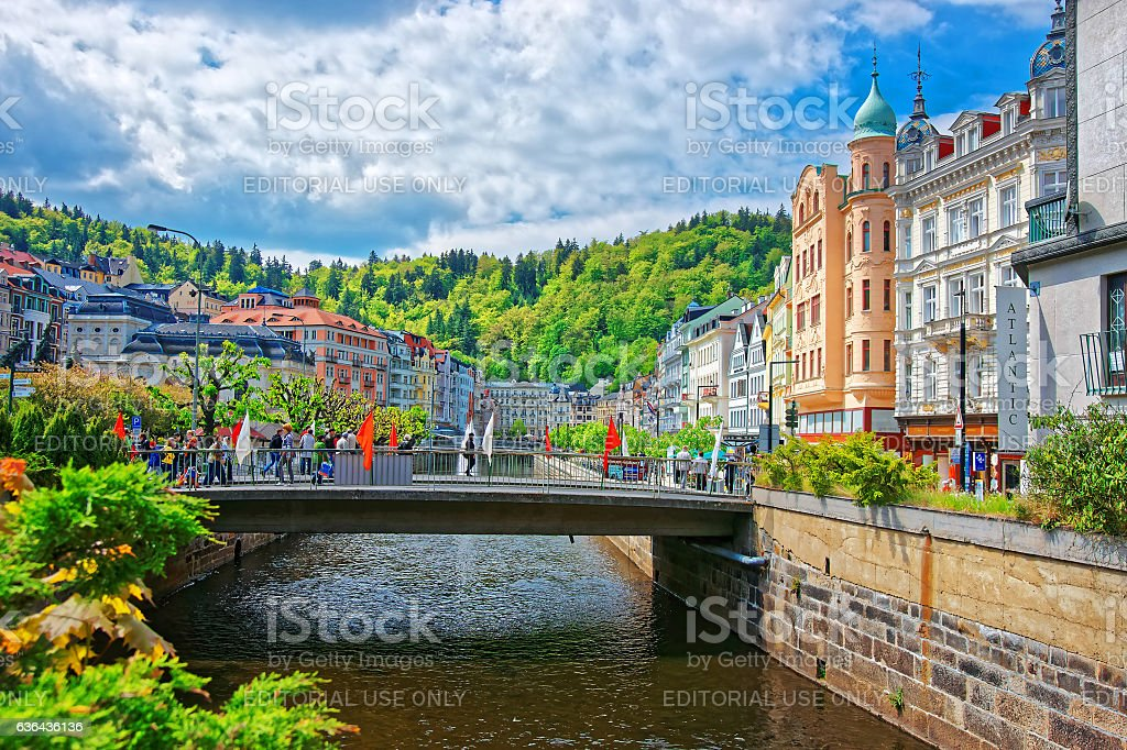 Bridge and Promenade in Karlovy Vary stock photo