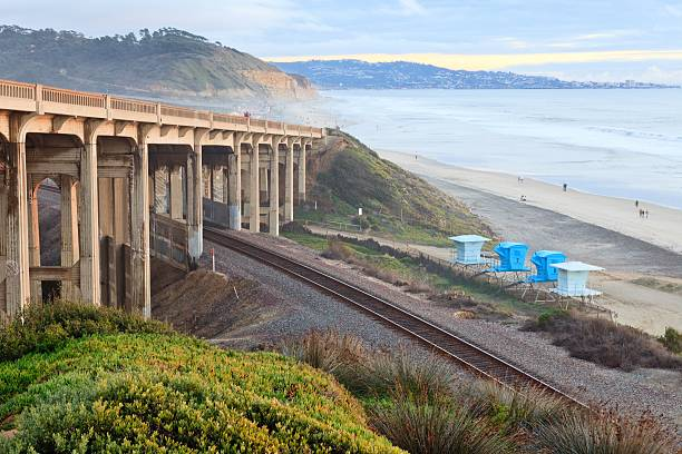 Bridge and Railway on beach, Del Mar, California stock photo