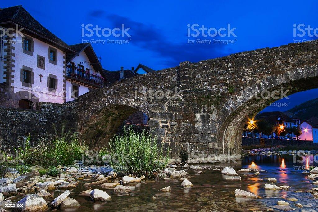 Bridge and river in Ochagavia stock photo