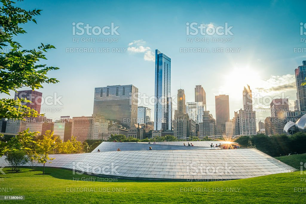 BP Bridge and skyscrapers in downtown Chicago - USA stock photo