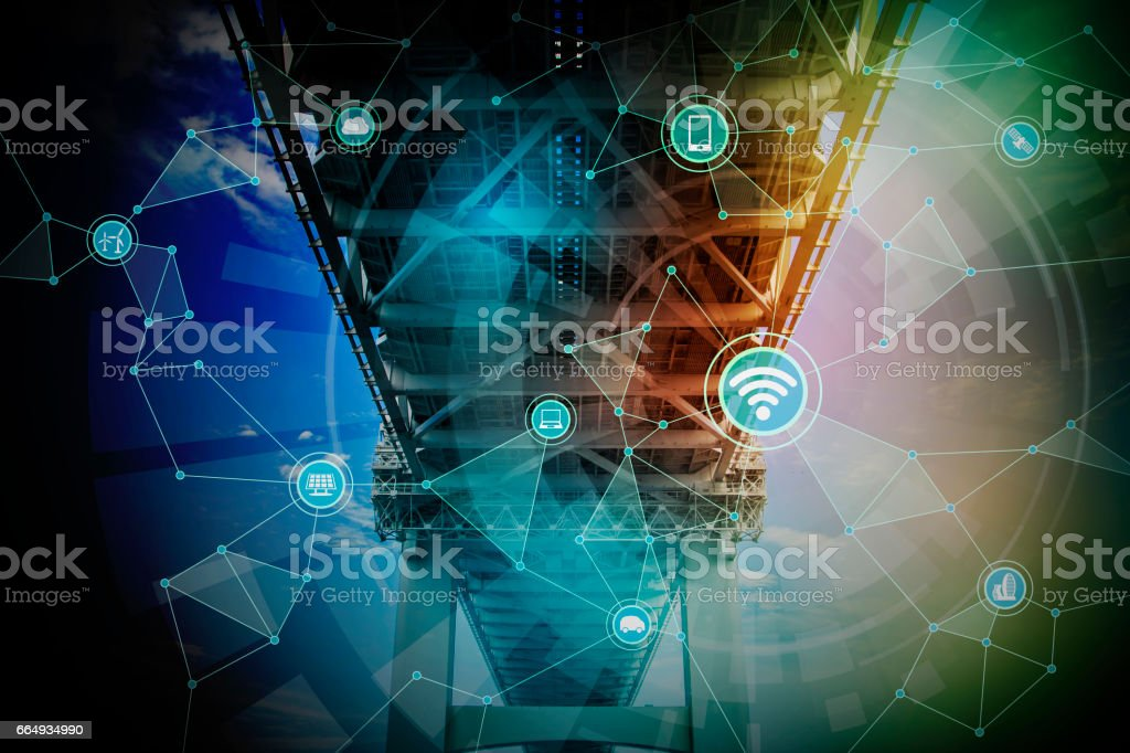 bridge and smart infrastructure, wireless communication network, abstract image visual, internet of things stock photo