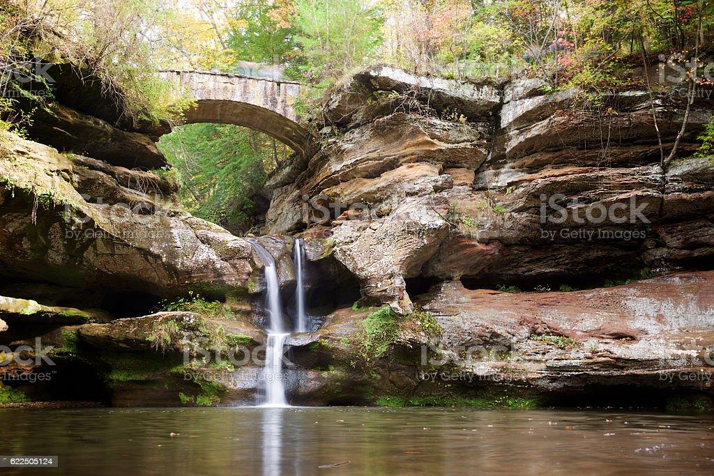 Bridge and Waterfall in Hocking Hills State Park, Ohio stock photo
