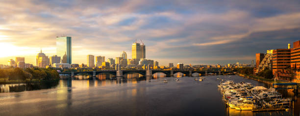 Bridge and yacht boat club in Boston city with morning stock photo