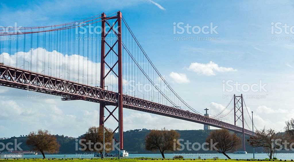 ponte 25 de abril cristo rei liboa portugal tajo bridge stock photo