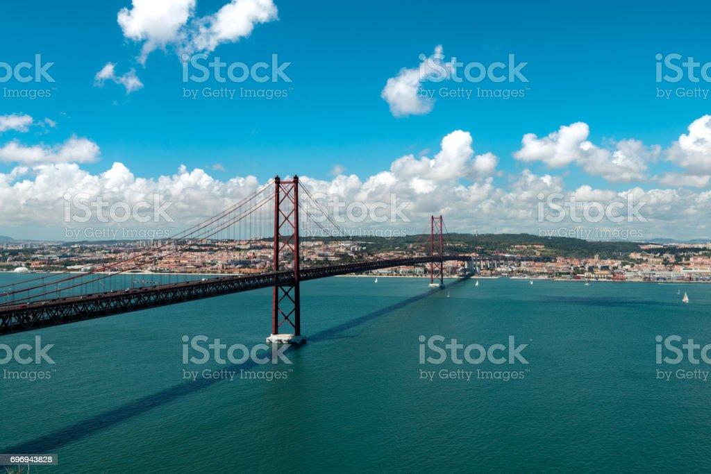 Bridge April 25 Lisbon stock photo