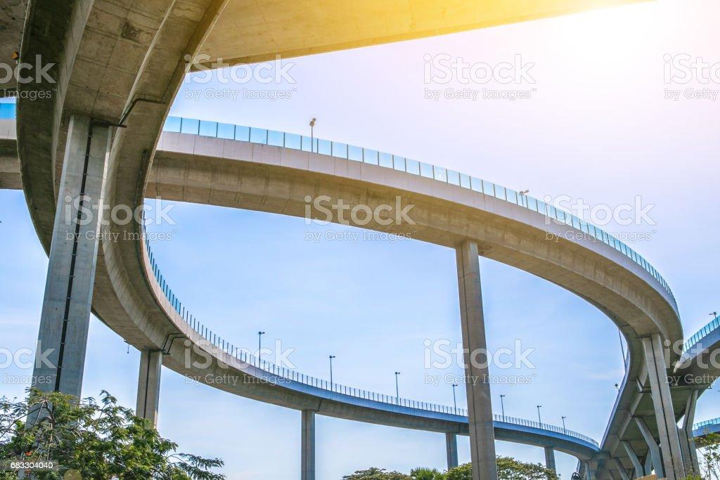 Bridge. Architecture lines under the bridge, Elevated expressway, bangkok, thailand zbiór zdjęć royalty-free