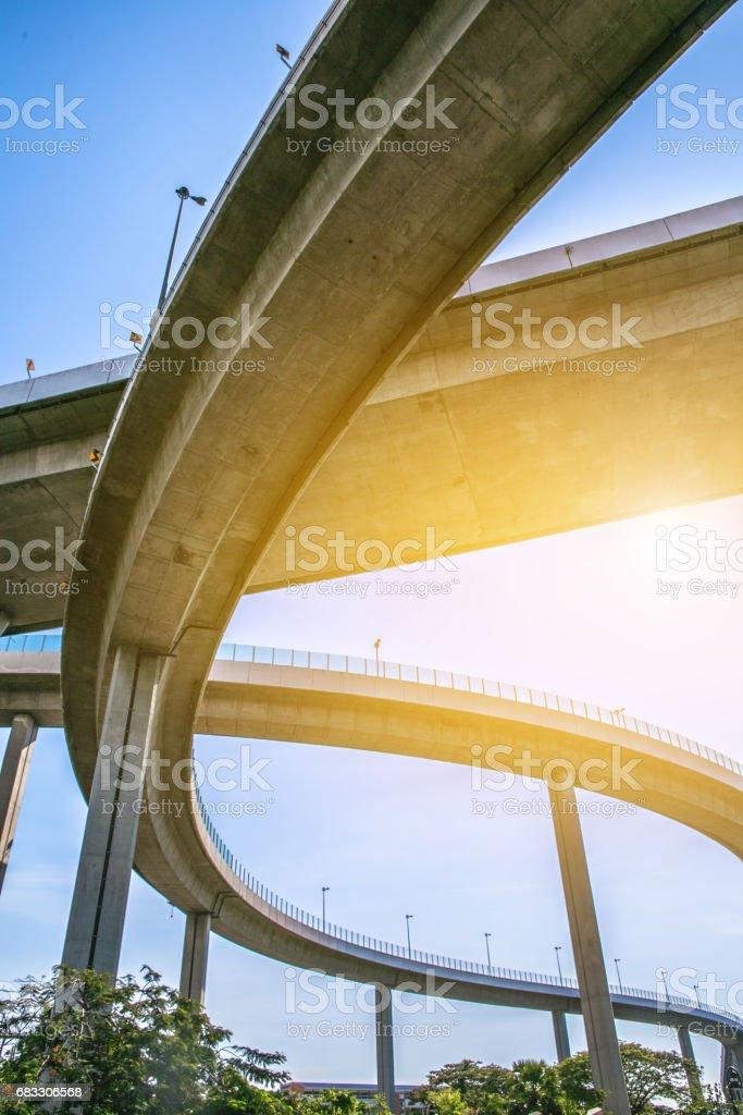 Bridge. Architecture lines under the bridge, Elevated expressway, bangkok, thailand foto stock royalty-free