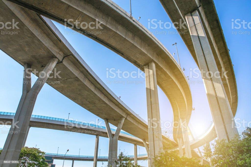 Bridge. Architecture lines under the bridge, Elevated expressway, bangkok, thailand royalty-free stock photo
