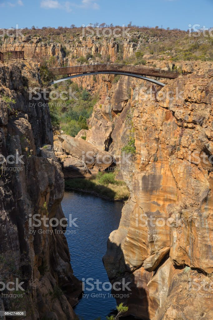 Bridge at Bourke Luck Potholes, Blyde River Canyon, South Africa stock photo