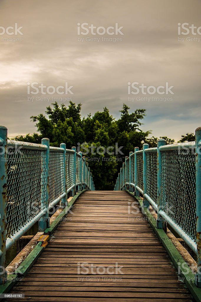 Bridge at dusk in the park royalty-free stock photo