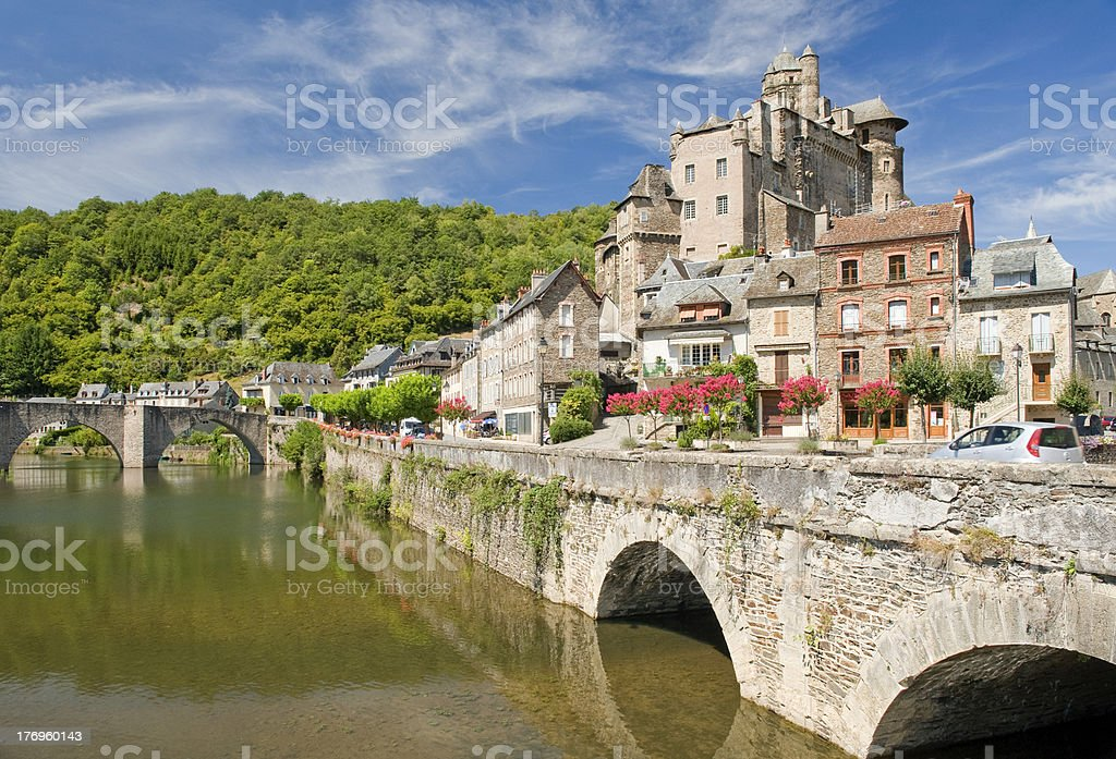 Bridge at Estaing Village stock photo
