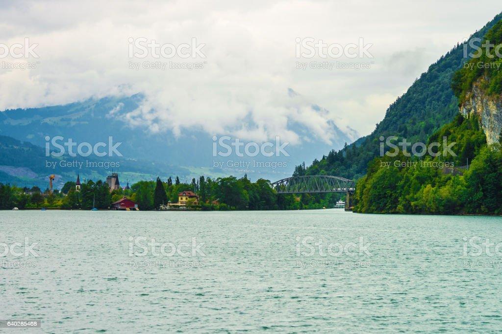 Bridge at Lake Brienz and Brienzer Rothorn mountain Bern Swiss stock photo