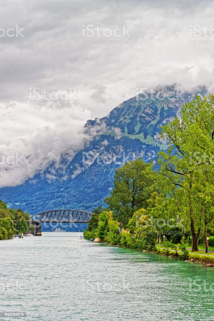 Bridge at Lake Brienz and Brienzer Rothorn mountain Bern Switzerland stock photo