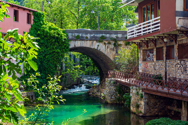 Bridge at old Town of Livadeia, in Boeotia region, Central Greece stock photo
