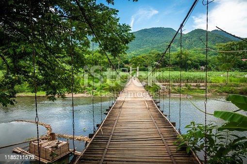 Hanging bridge at Pu Luong, Mai Chau in northern Vietnam.