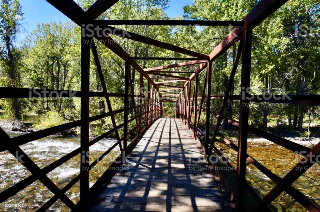 Bridge at the Big Wood National Recreation Trail stock photo
