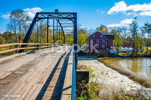 The old bridge at War Eagle Mill in Rogers, Arkansas.