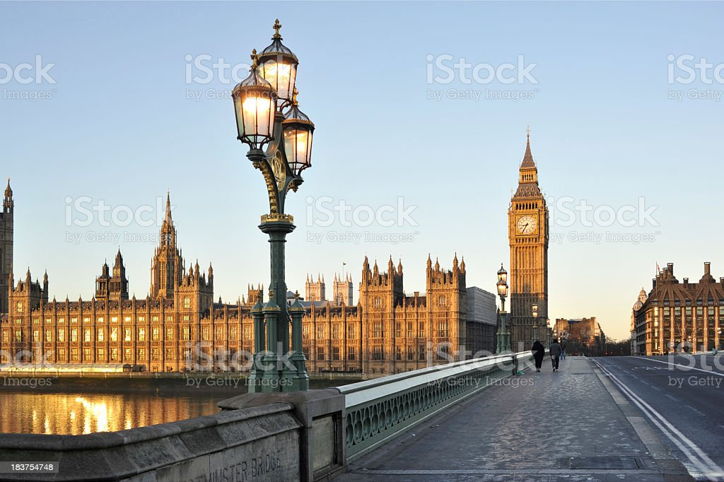 Bridge beside the Houses of Parliament, London, England stock photo