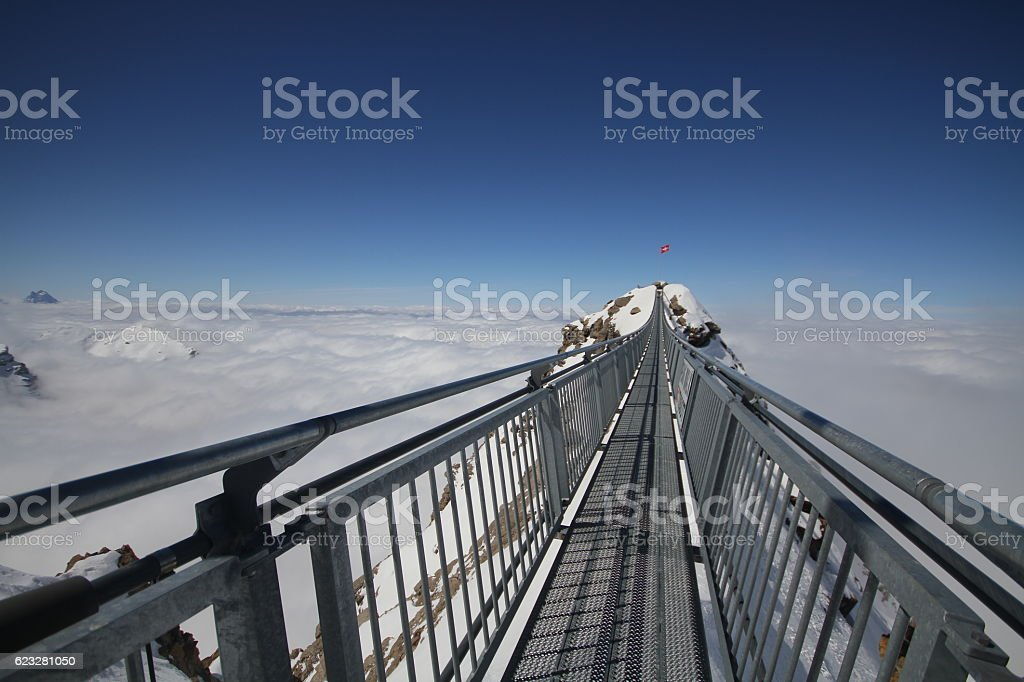 bridge between 2 mountain peaks, SWIZTERLAND stock photo