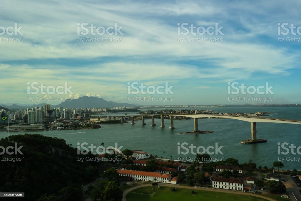 Bridge between cities stock photo