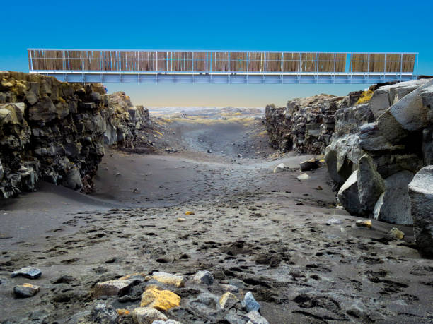 Bridge Between Continents in Álfagjá rift that connects two continents on Reykjanes peninsula, Iceland stock photo