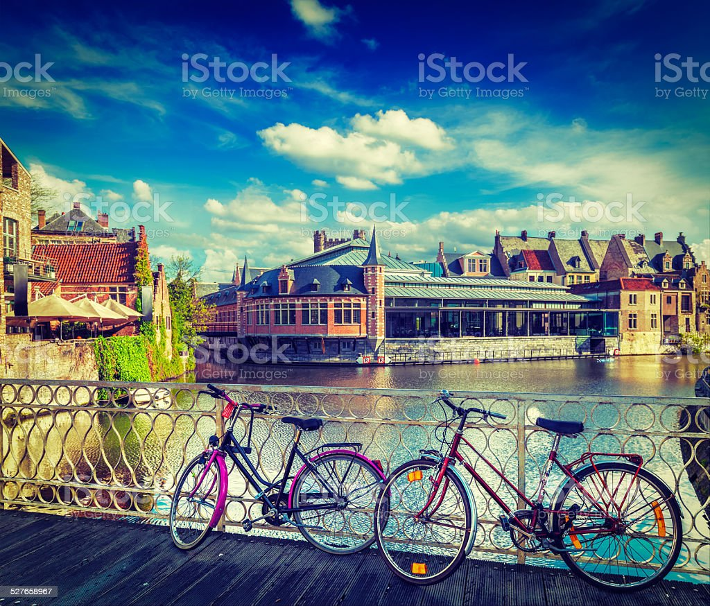 Bridge, bicycles and canal. Ghent, Belghium stock photo