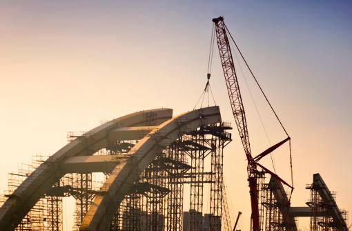 construction site of a bridge in novi sad ,serbia