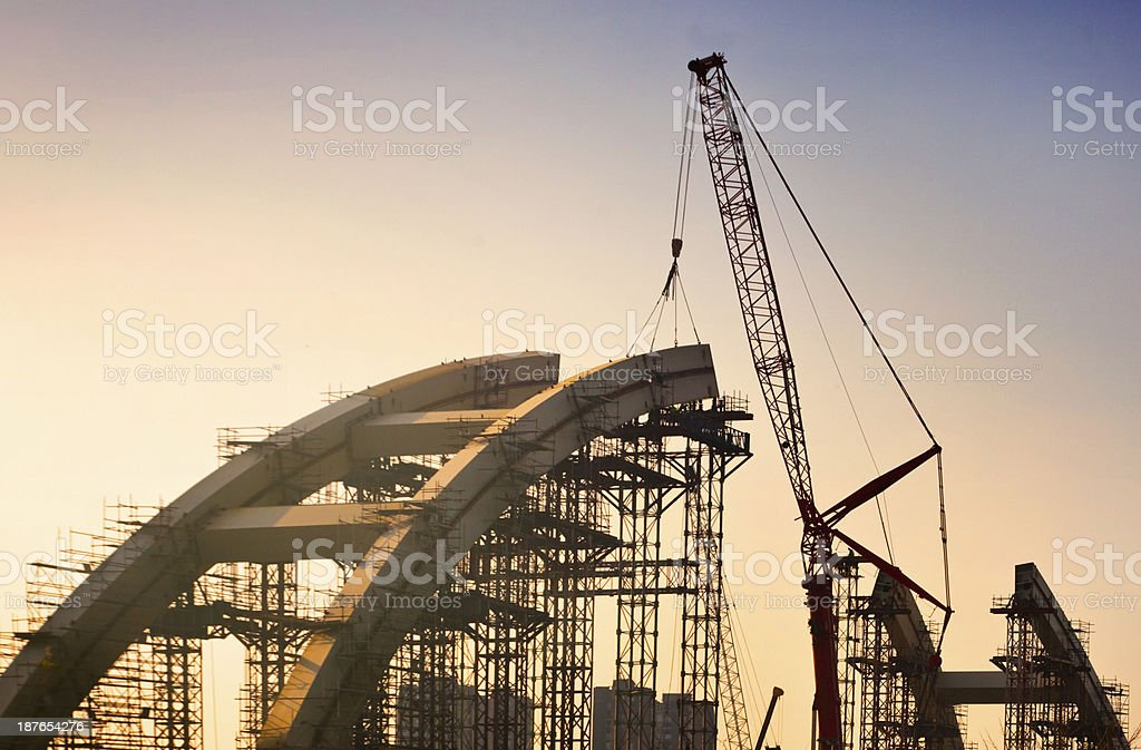 Bridge building stock photo