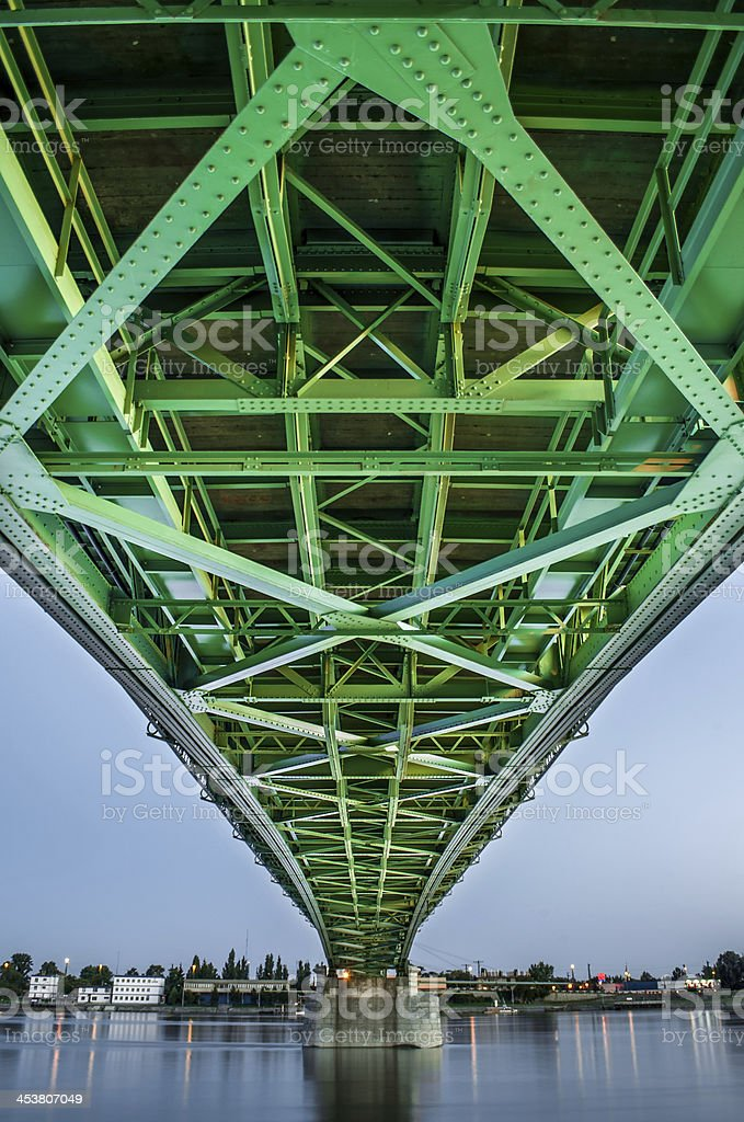 bridge connecting two countries, Slovakia and Hungaria stock photo