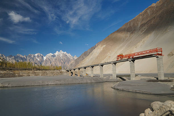 Bridge construction across Indus River along the Karakorum Highway Bridge construction across the Indus River along the Karakorum Highway in Pakistan. silk road stock pictures, royalty-free photos & images
