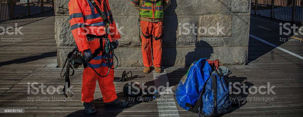 Bridge construction and workers stock photo