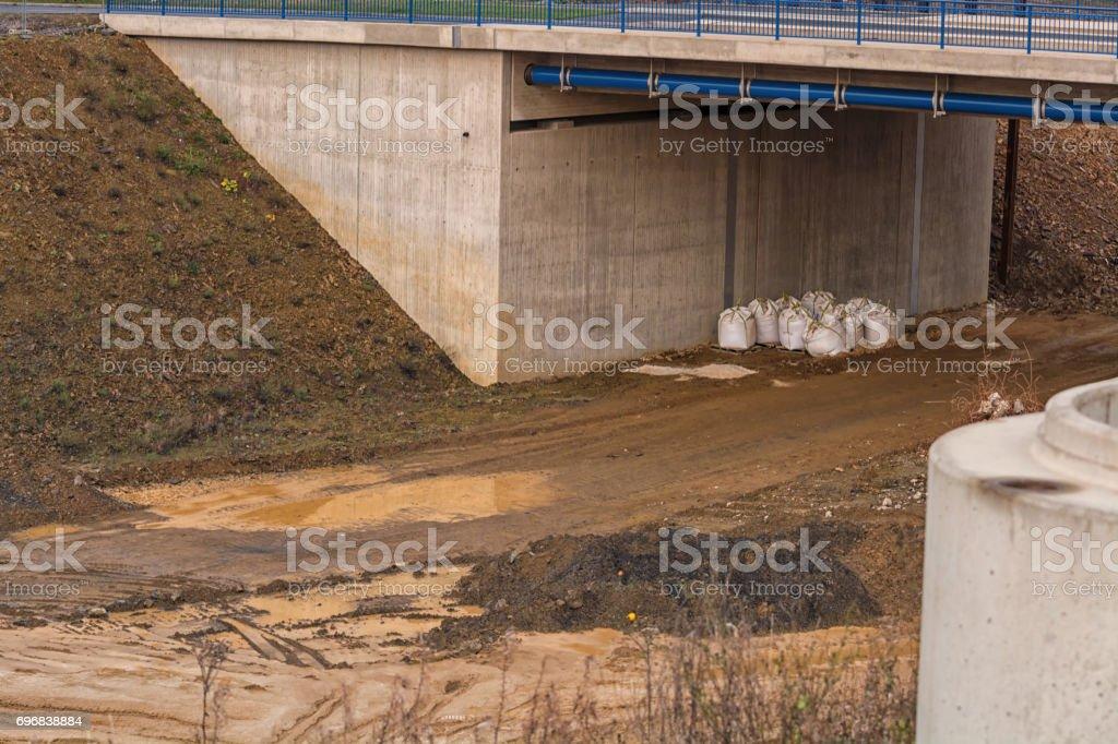 Bridge construction at A 44 to Düsseldorf. stock photo