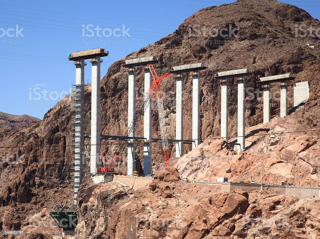 Bridge construction at Hoover Dam royalty-free stock photo