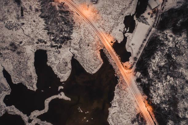 Bridge construction between smal islands of Lofoten, aerial panorama. stock photo