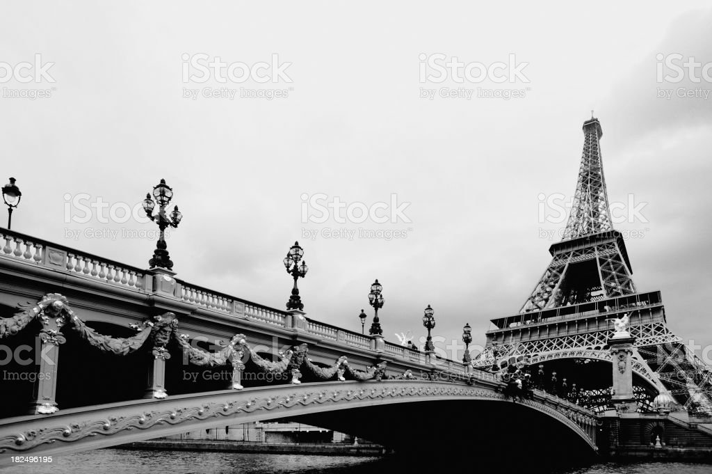 Bridge Crossing River Seine to Eiffel Tower Paris France stock photo
