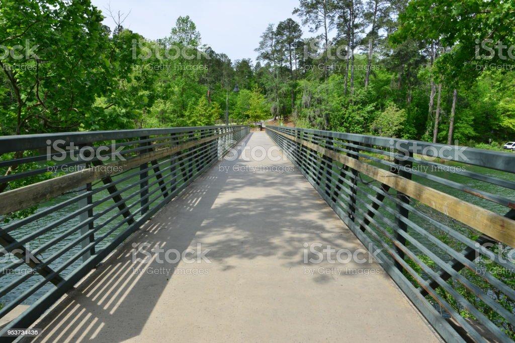 Bridge crossing the  Augusta canal at Augusta in Georgia. stock photo