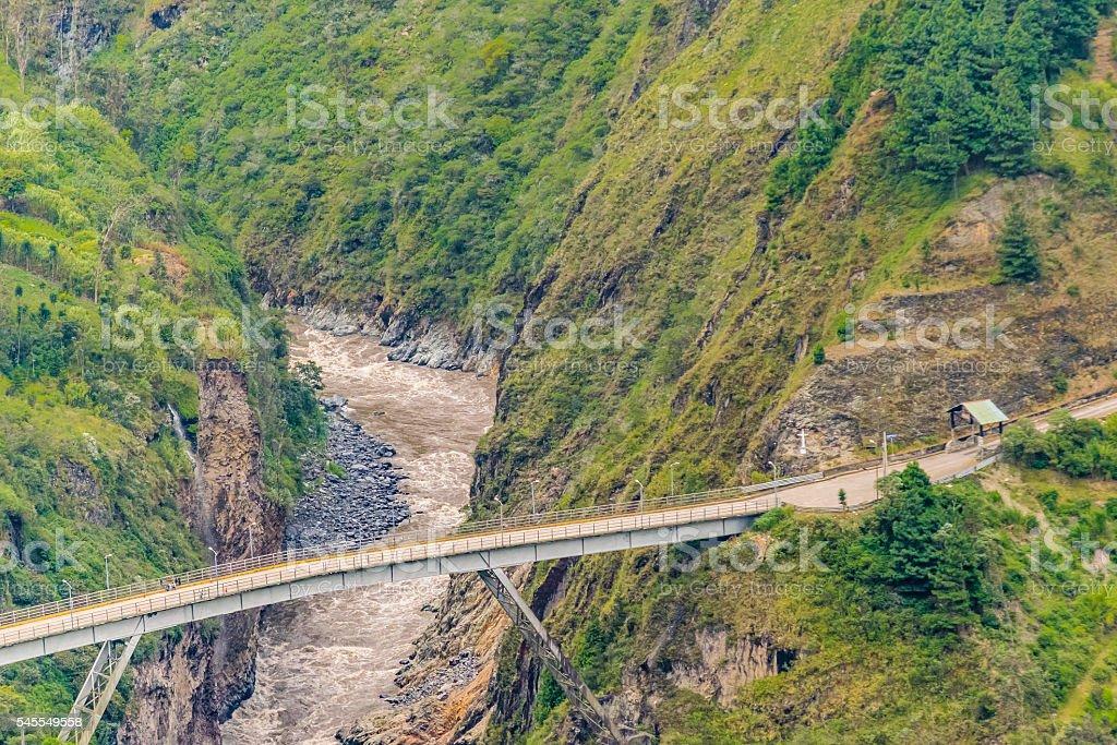 Bridge crossing the River Aerial View stock photo