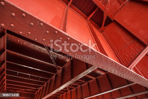 A wide angle view of the underside of bridge structure.