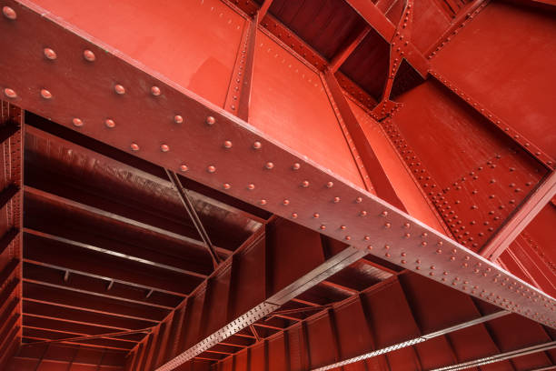 Bridge deck underside A wide angle view of the underside of bridge structure. girder stock pictures, royalty-free photos & images