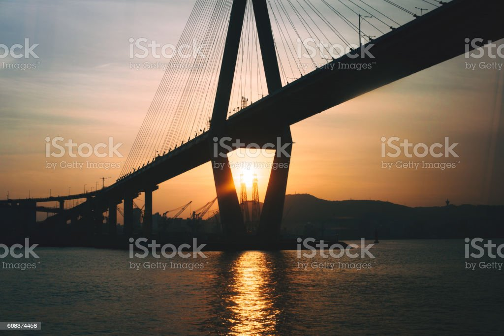 Bridge during sunset modern urban architecture stock photo