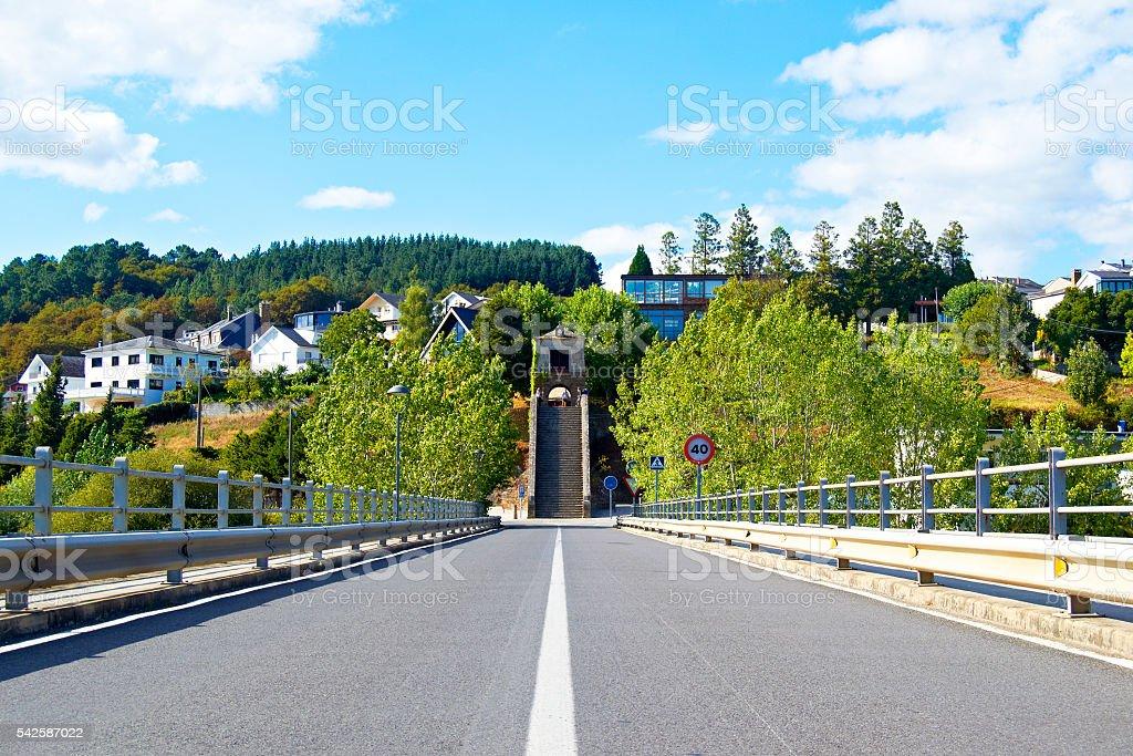 Bridge entrance to Portomarin, Spain stock photo