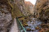 Bridge for hikers in the gorge of the Devinska River in Bulgaria in Devin, Smoljan, Bulgaria