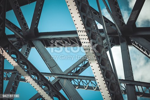 Bridge frame closeup on blue sky background. Horizontal toned image
