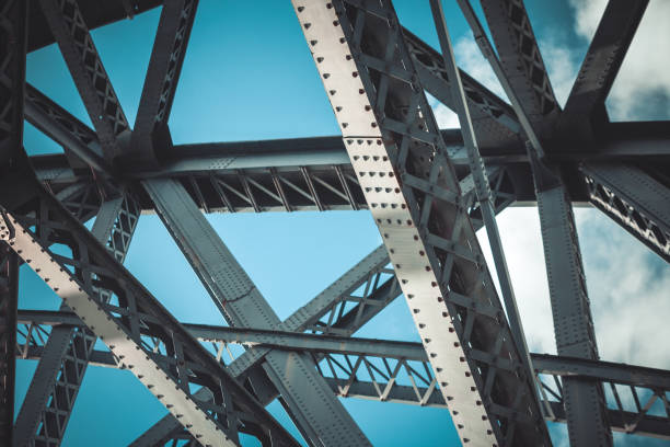 bridge frame closeup - steel stock photos and pictures