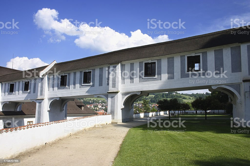Bridge house as part of  Cesky Krumlov castle stock photo