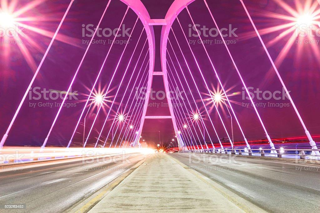 Bridge Illuminated Purple stock photo