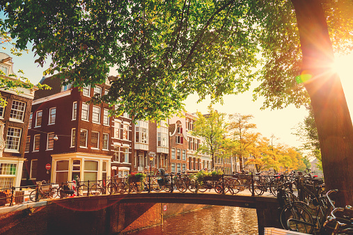 Typical street in Amsterdam, Netherlands