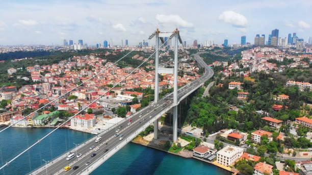Bridge in Bosphorus and Istanbul Cityscape stock photo